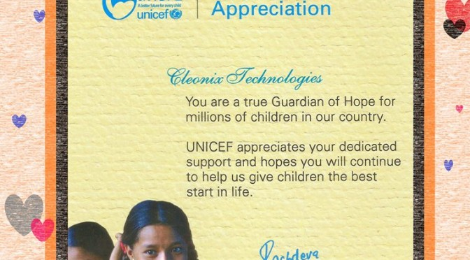 Appreciation- from -UNICEF