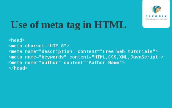 Use of meta tag in…